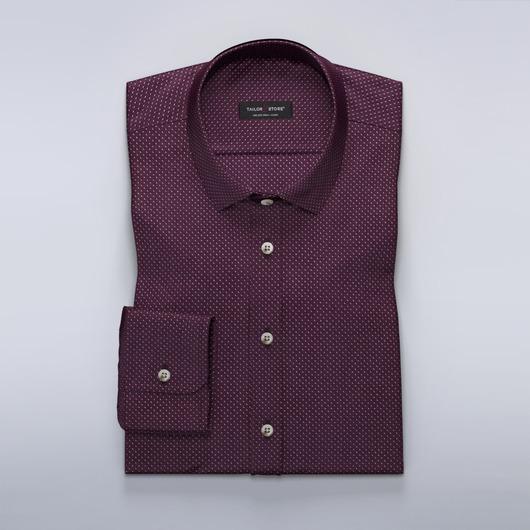 Kastanjebrun dresskjortemed mønster.
