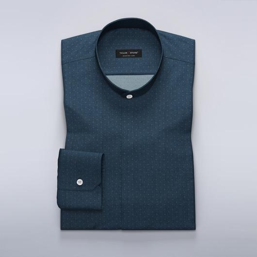 Chemise sur mesure bleu marine à motif chevrons