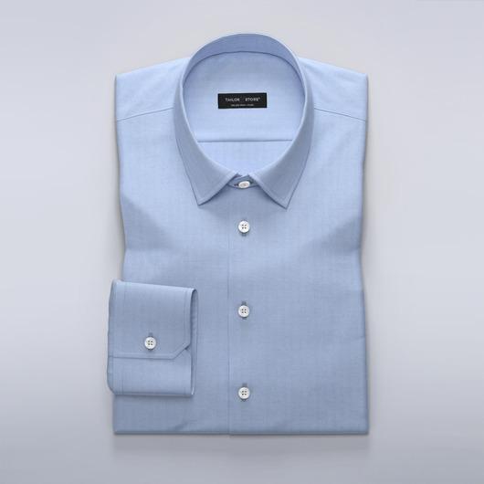 Lichtblauw business overhemd in herringbone