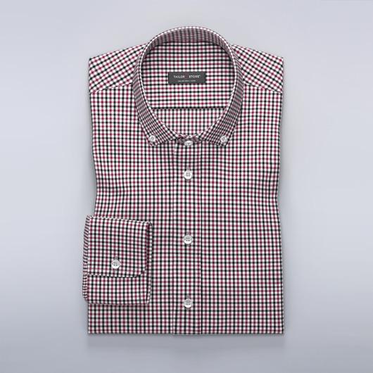 White black and burgundy checked shirt
