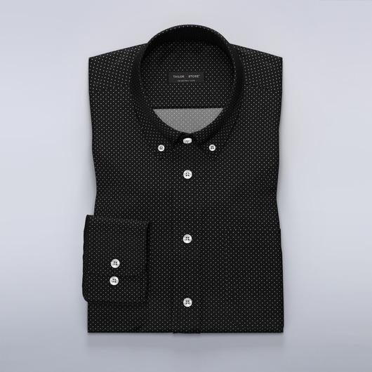 Chemise à pois en noir et blanc en popeline