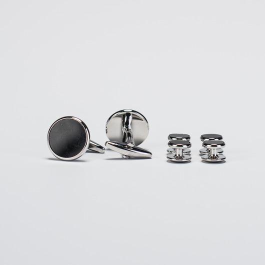 Set i silver och svart emalj