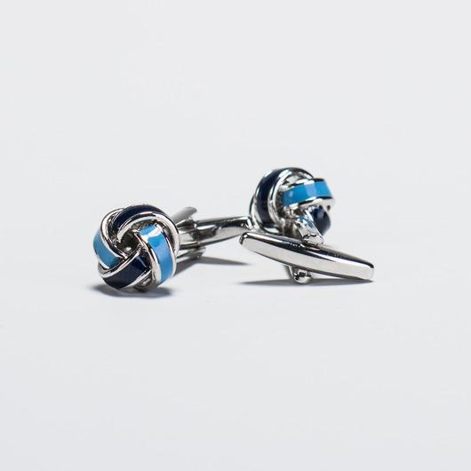 Spinki do mankietów w kształcie węzłów ze srebrnym elementem