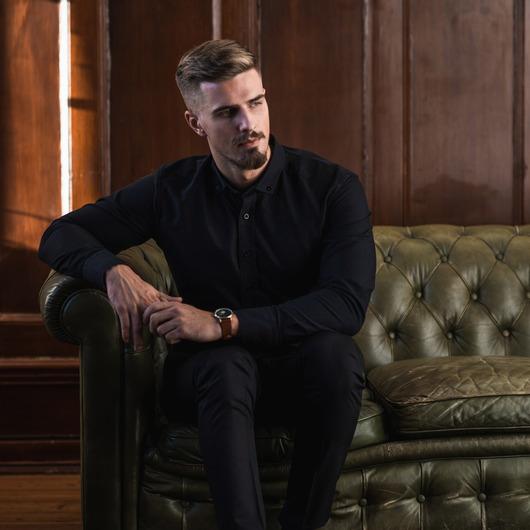 Matt svart Oxfordskjorta