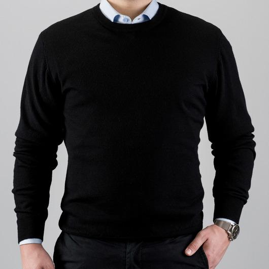 Czarny sweter z wełny merino, okrągły kołnierzyk