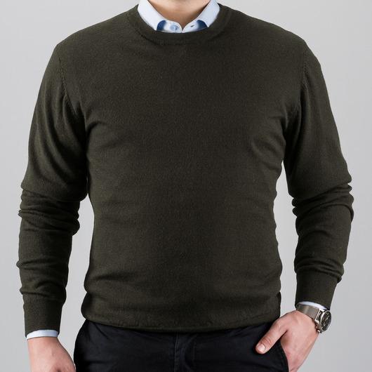 Zielony sweter z wełny merino, okrągły kołnierzyk