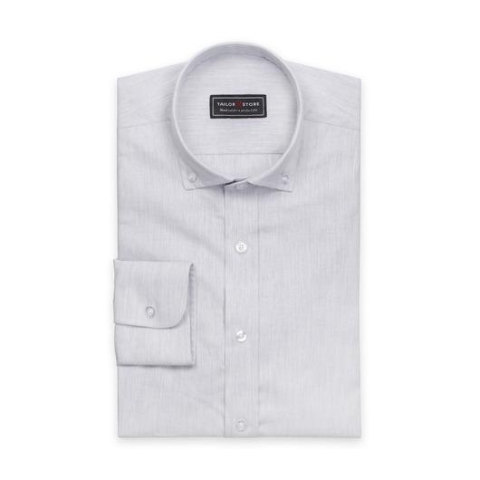 Light gray twill shirt with button-down modern collar