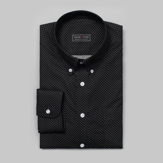 Black/White dotted poplin shirt