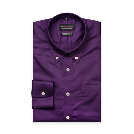 Dunkellila Hemd aus Satinbaumwolle