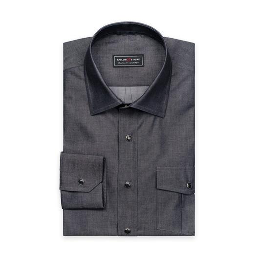 Zwart overhemd met business-classic kraag