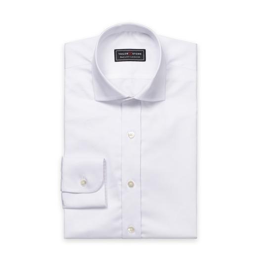 Chemise en coton satiné en blanc