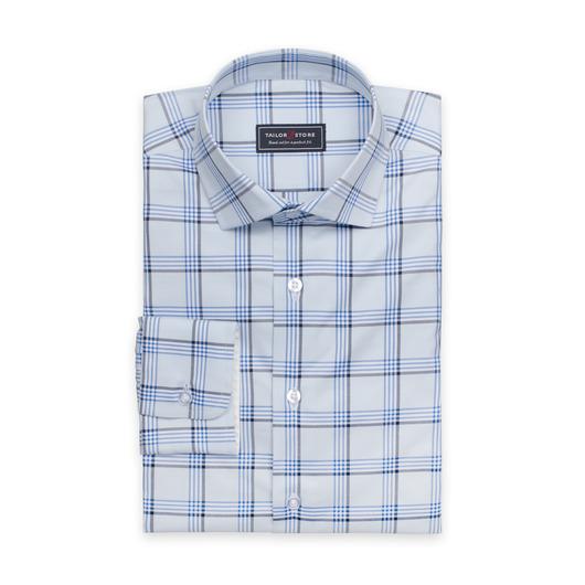Lyseblå rutemønstret skjorte