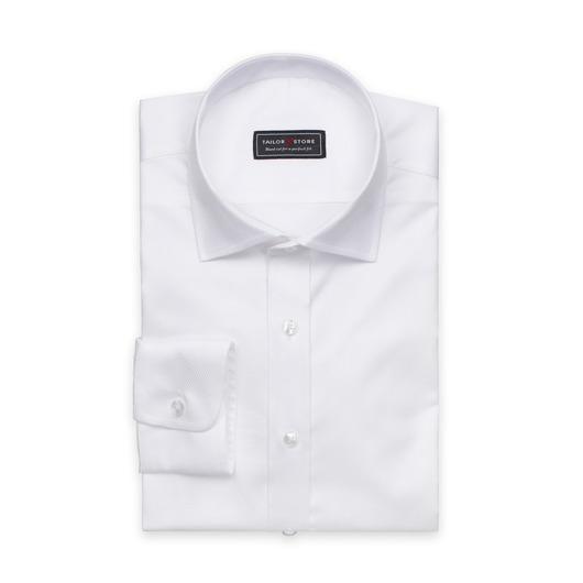 Weißes Baumwollhemd aus Dobby-Bindung