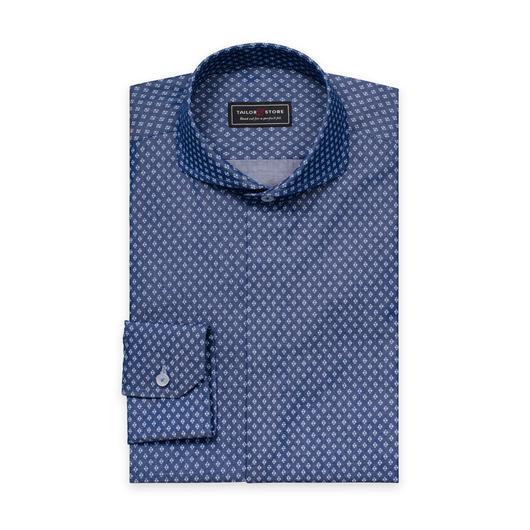 Blå/Vitmönstrad skjorta med cut-away extreme krage