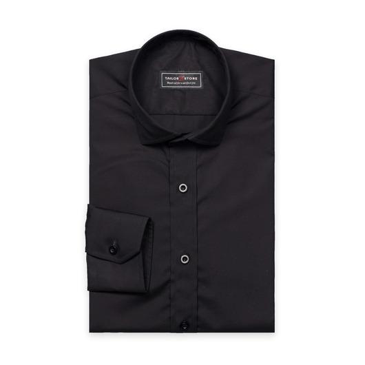Svart poplinskjorta med cut-away casual krage