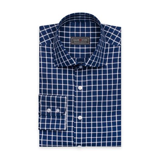 Mörkblå affärsskjorta med elegant rutmönster