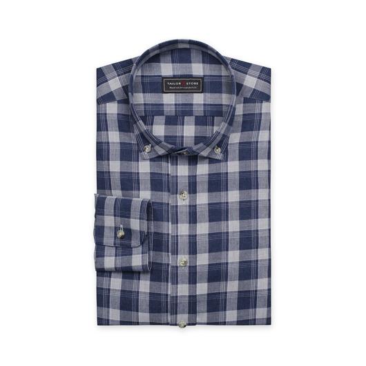 Blue/light gray checked cotton shirt