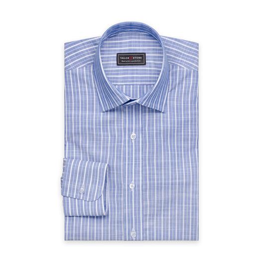 Chemise à rayures bleues et blanches en coton avec un col business