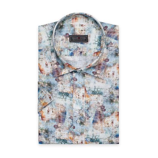 Bedrucktes Leinenhemd