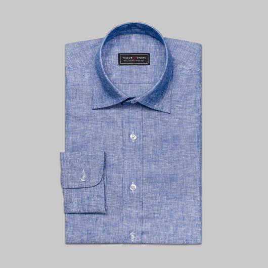 Blå linskjorte med business-krage