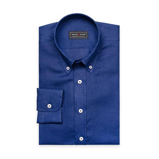 Blaues Leinenhemd mit Button-Down Classic Kragen