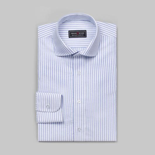 Vit/Blå-randig Oxfordskjorta