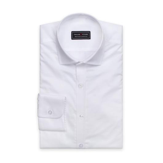 Valkoinen paita twill-kudotusta puuvillasta