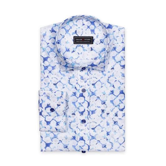 Blau/weiß bedrucktes Baumwollhemd