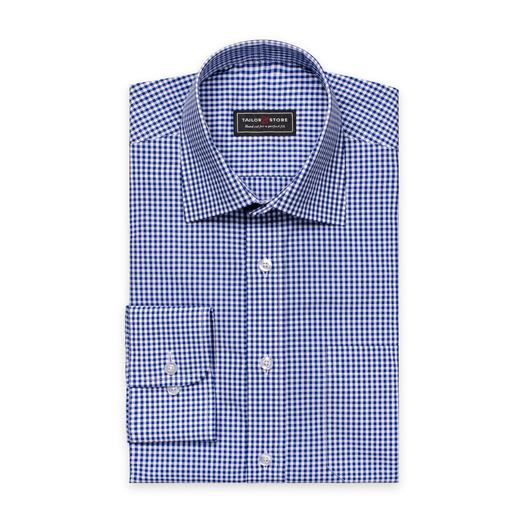 Vit/Blårutig poplinskjorta med business classic krage
