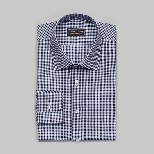 Vit/Blårutig poplinskjorta med business superior-krage