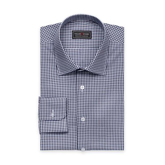 Hvit/Blårutete poplinskjorte