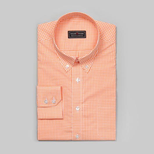 Wit/oranje geruit overhemd