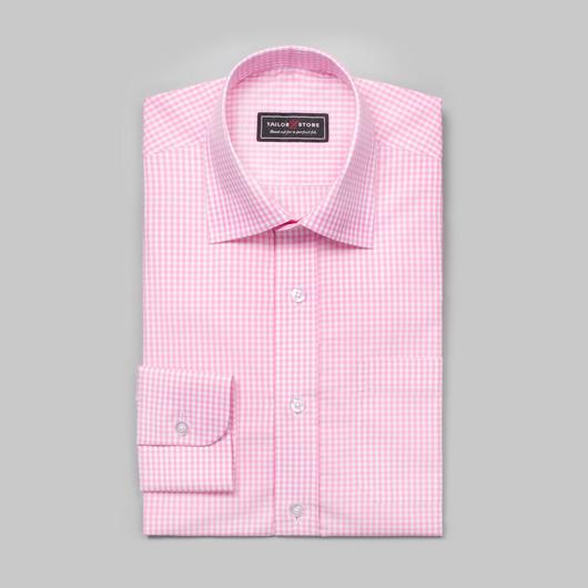 Weiß/pink kariertes Popeline Hemd