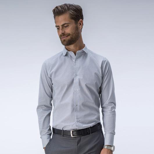 Chemise à carreaux sur mesure en noir et blanc