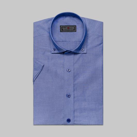 Chemise bleue foncé à col button-down moderne