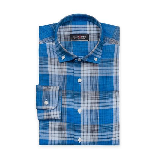 Licht flanellen overhemd met grote blauwe ruiten