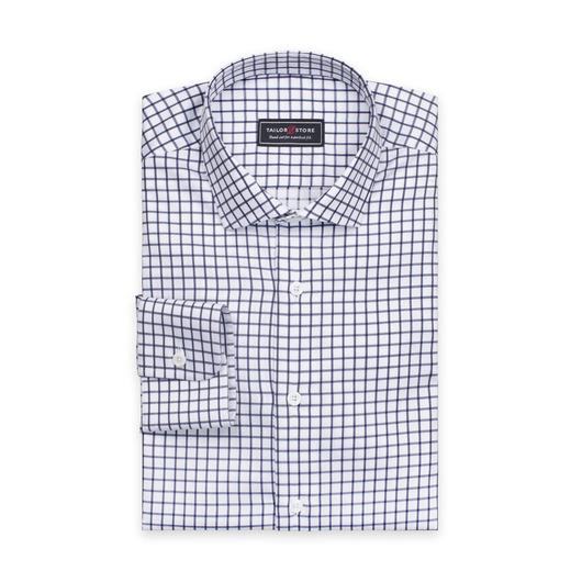 Hvit skjorte med marineblå ruter