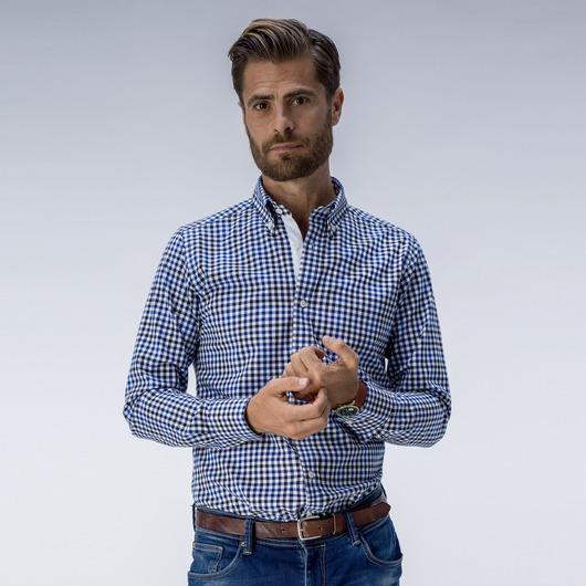 Rutete dresskjorte, svart og blå