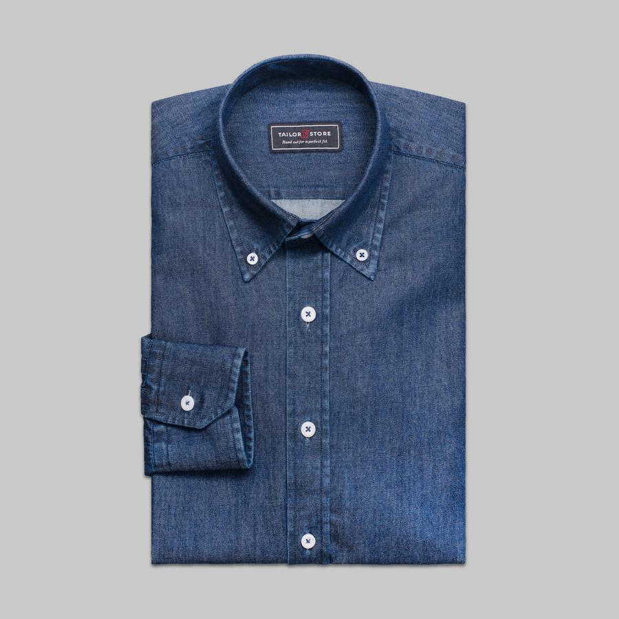 classic dark blue denim shirt